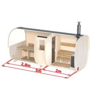 kuva 5m Pihasauna 6 hengelle istuimilla tai vuoteella (S5P)